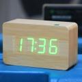 นาฬิกาไม้-USB / แบตเตอรี่-ตัวเลขสีเขียว-พร้อมระบบสั่งการด้วยเสียง