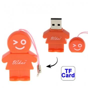 USB 2.0/ตัวอ่าน Micro SD Card รูปการ์ตูน (สีส้ม)